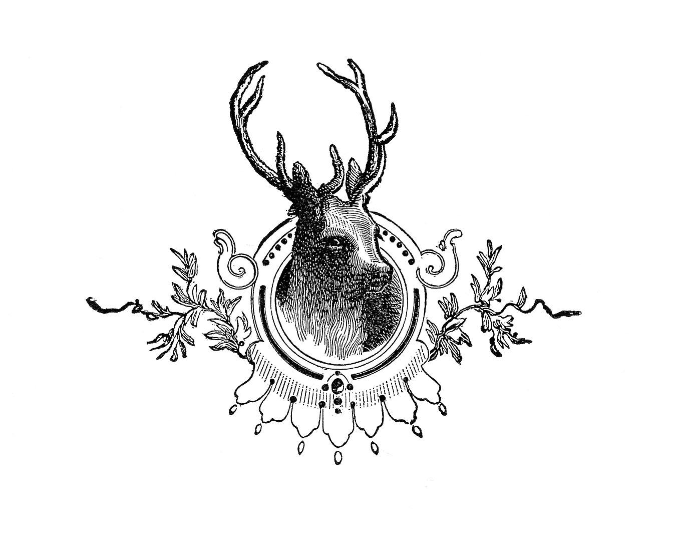 Engraving clipart ornament Book Deer Deer from