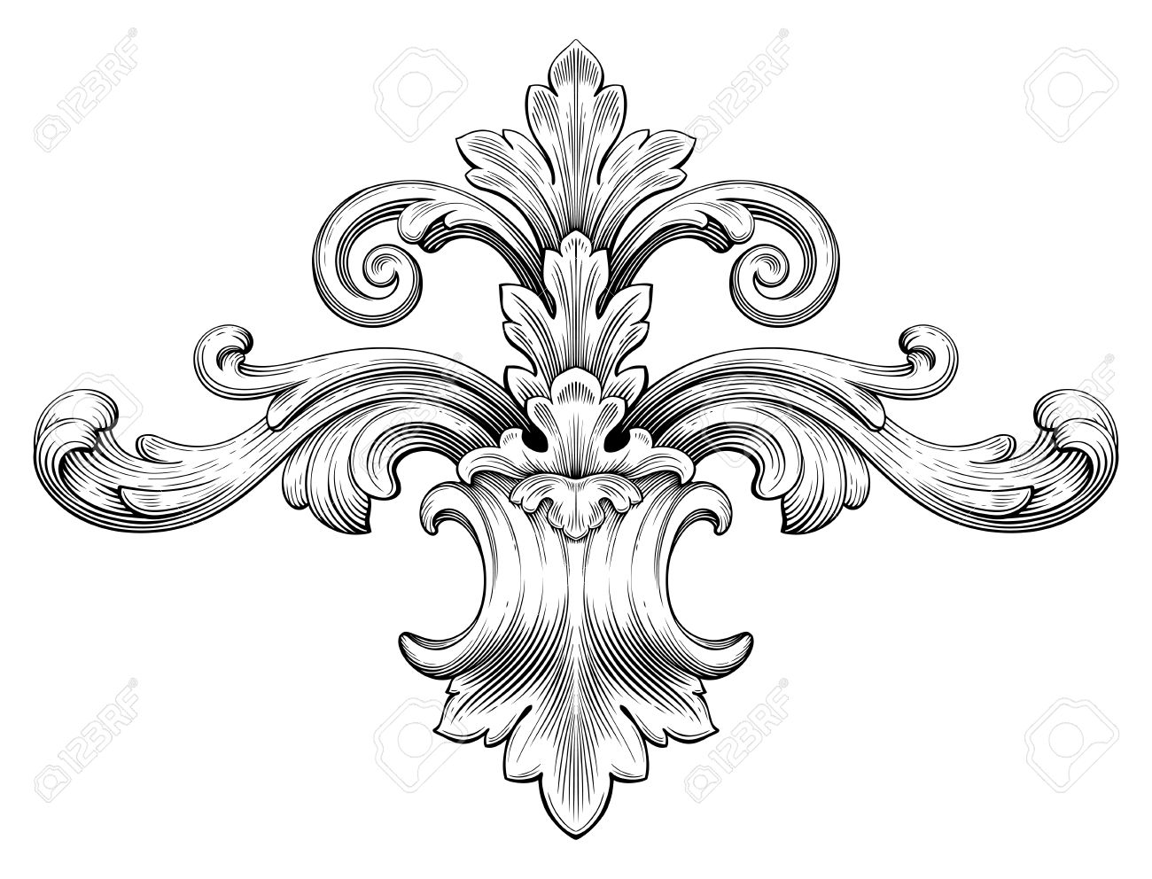 Engraving clipart scroll Scroll Engraving Scroll Baroque Engraving