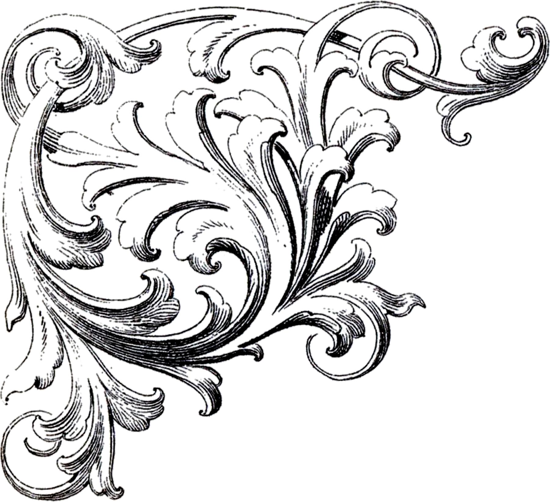 Classical clipart victorian scroll Corner Ornament Ornament Ornament Scrolls
