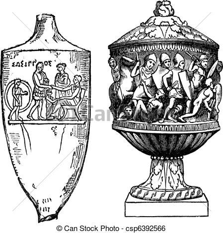 Engraving clipart vector Greek csp6392566 vintage Greek urns