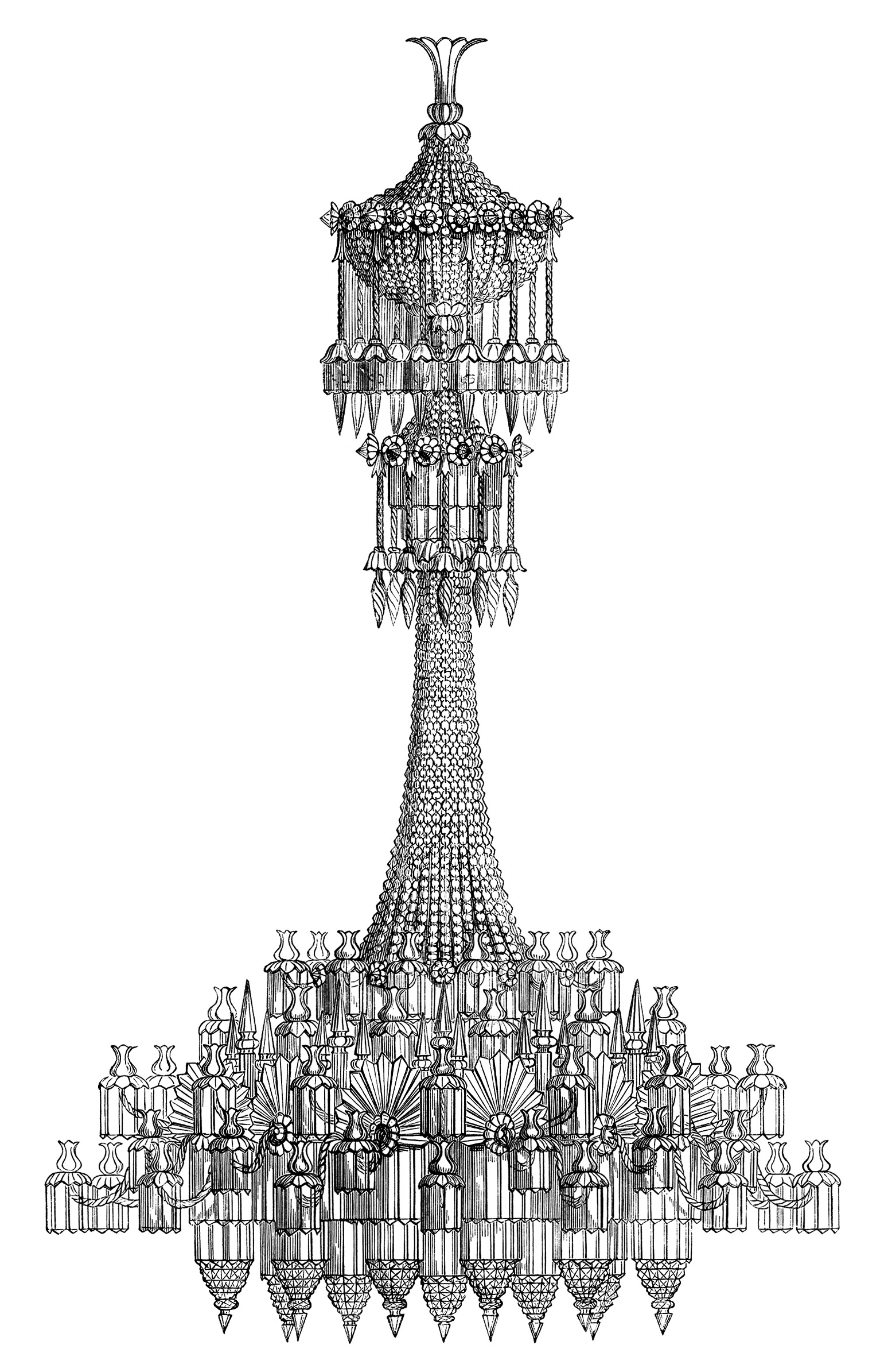 Engraving clipart victorian Chandelier and  lighting clipart