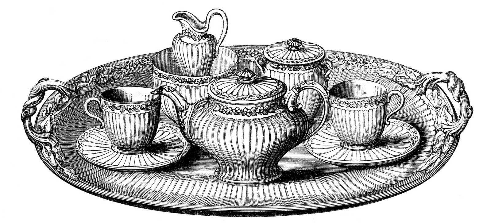 Teacup clipart tea set Platter Vintage Clip Fairy Art