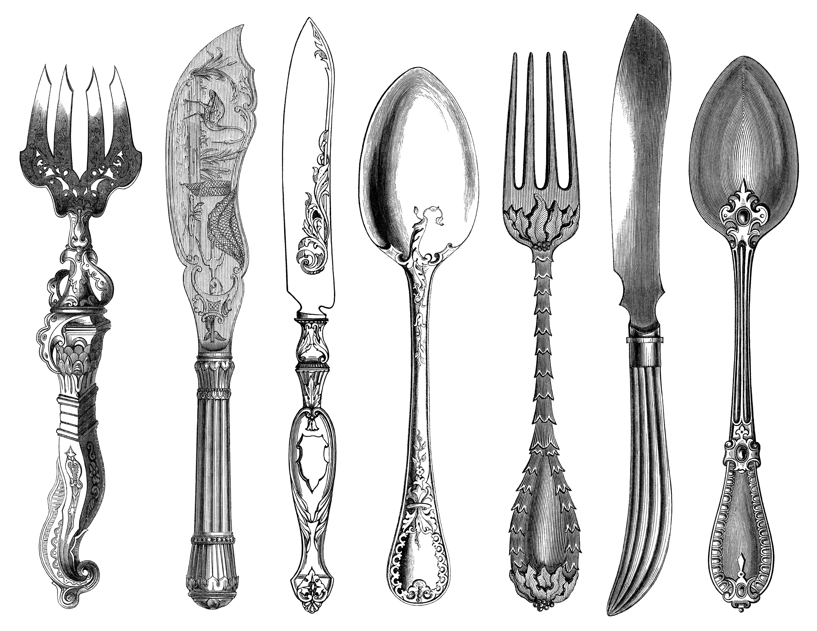 Cutlery clipart vintage Black black and fork clipart