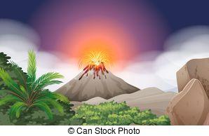 Eruption clipart volcanic eruption  eruption Vector volcano Scene