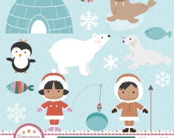 Eskimo clipart arctic Arctic printable set digital Eskimo