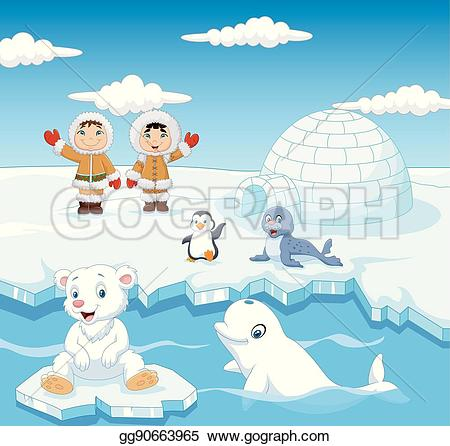 Eskimo clipart arctic Animals igloo EPS with with