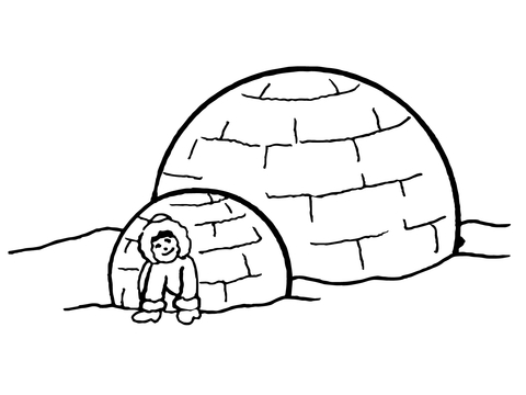 Eskimo clipart coloring Printable version page Igloo Pages