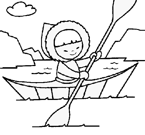 Eskimo clipart coloring Best canoe painted ClipArt Colored