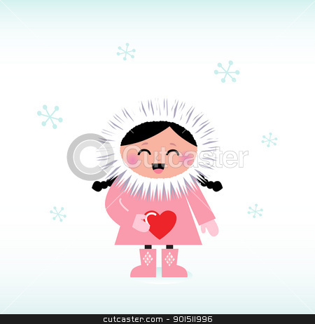 Eskimo clipart cute Red white isolated Cute on