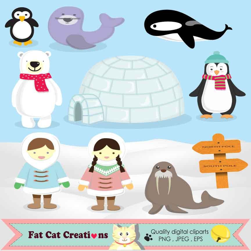 Eskimo clipart cute Etsy web set elements Arctic
