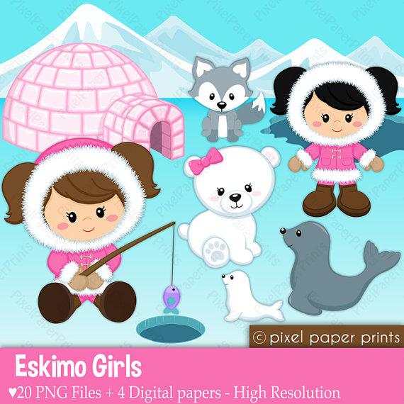 Eskimo clipart cute By clip Paper girls Digital