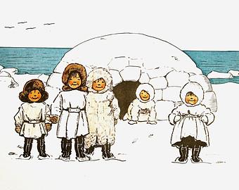 Eskimo clipart eskimo igloo 1899 in Sled Igloo Waiting
