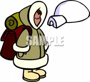 Eskimo clipart eskimo igloo A with a Backpack Backpack