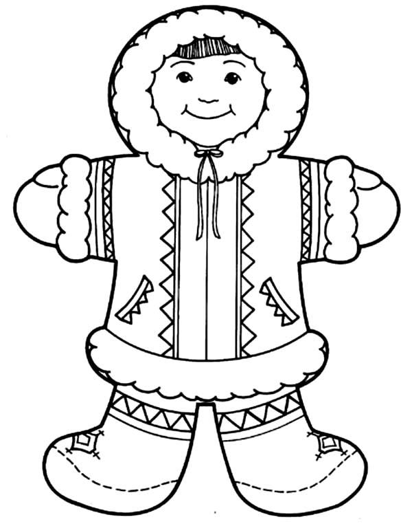 Eskimo clipart hat Coloring Girl Cute  Eskimo