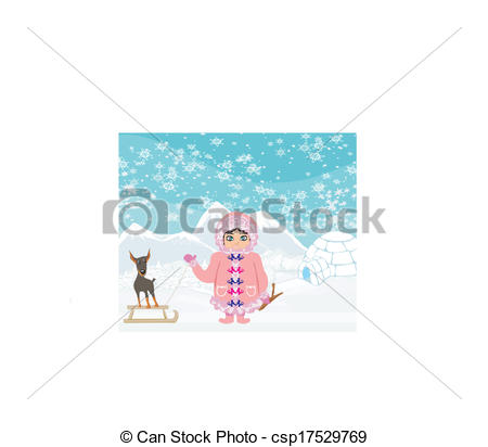 Eskimo clipart little Vector her Vector girl little