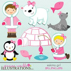Eskimo clipart little Party Eskimo Eskimos Clipart Digital