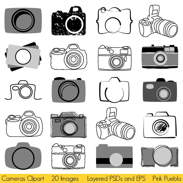 Photography clipart simple camera $8 via 299 Vectors 00