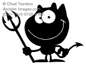 Satanic clipart black and white Of Pitchfork Cute Image Cartoon