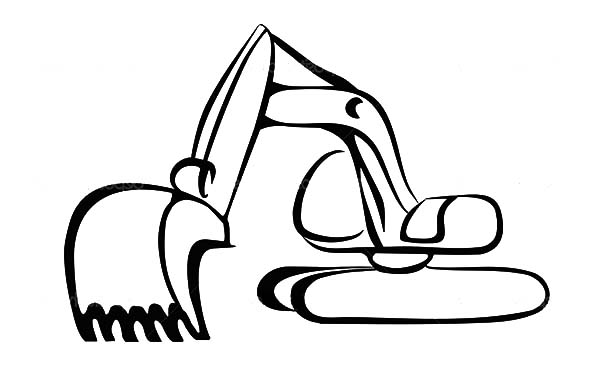 Excovator clipart black and white #9