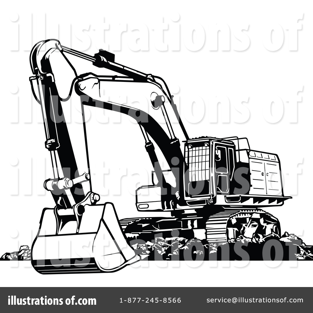 Excovator clipart black and white #7