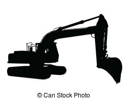 Excovator clipart black and white #10