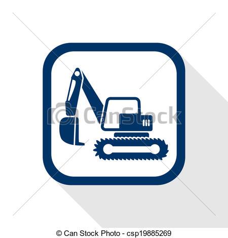 Excovator clipart blue  Clip excavator Vector icon