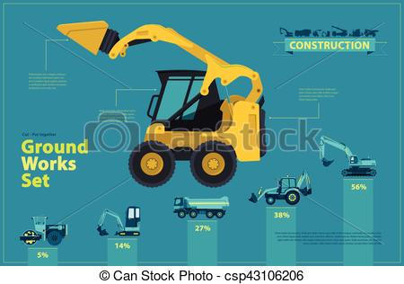 Excovator clipart blue Clipart ground ground Blue Yellow