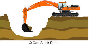 Excovator clipart cartoon Of Clipart  Illustration excavator
