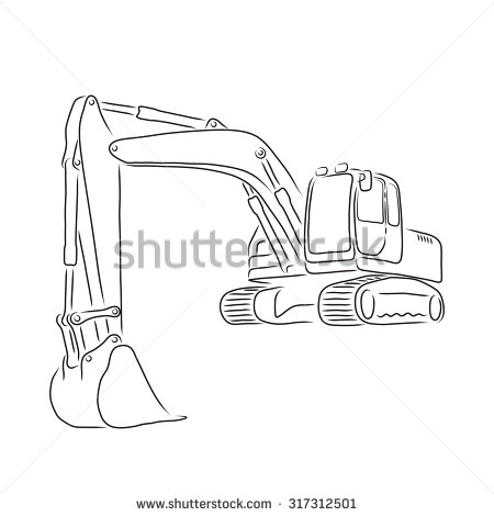 Excovator clipart sketch Of white on vector white