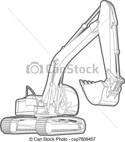 Excovator clipart sketch  excavator of illustration excavator