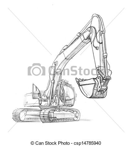 Excovator clipart sketch An of Drawing excavator excavator