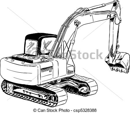 Excovator clipart sketch Csp5328388 black excavator of