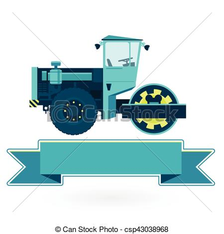 Excovator clipart steamroller Roads on Big  Vector