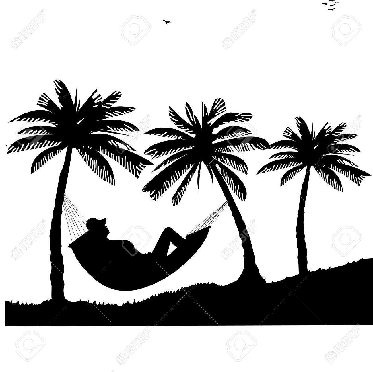 Beach clipart silhouette Clipart drawings clipart Hammock Download