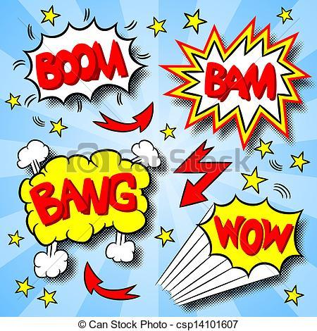 Explosions clipart bam Text cartoon text of Vector