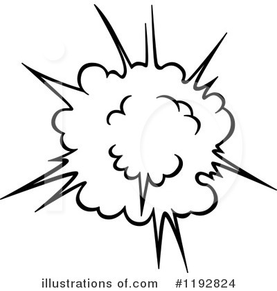 Explosions clipart black and white By Clipart #1192824 Illustration Vector