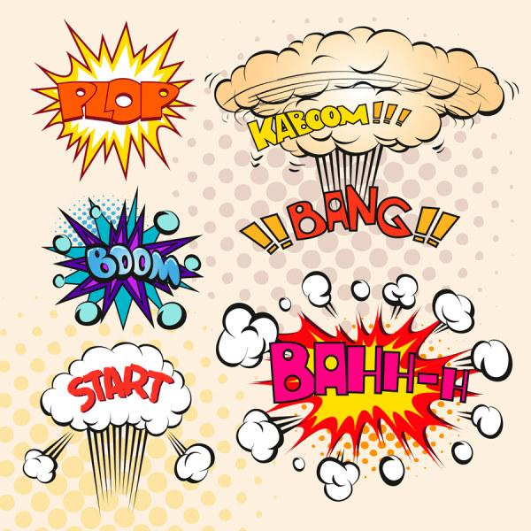 Explosions clipart border & vector set Cartoon Cartoon