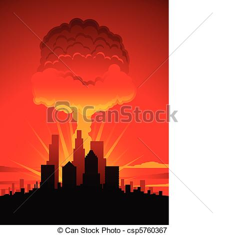 Explosions clipart cloud clipart  Nuclear city Mushroom and