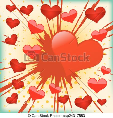 Explosions clipart heart Of Vector  of background