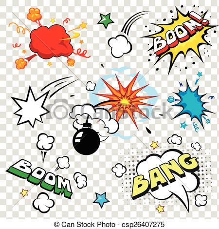 Comics clipart bomb Bubbles pop set art speech