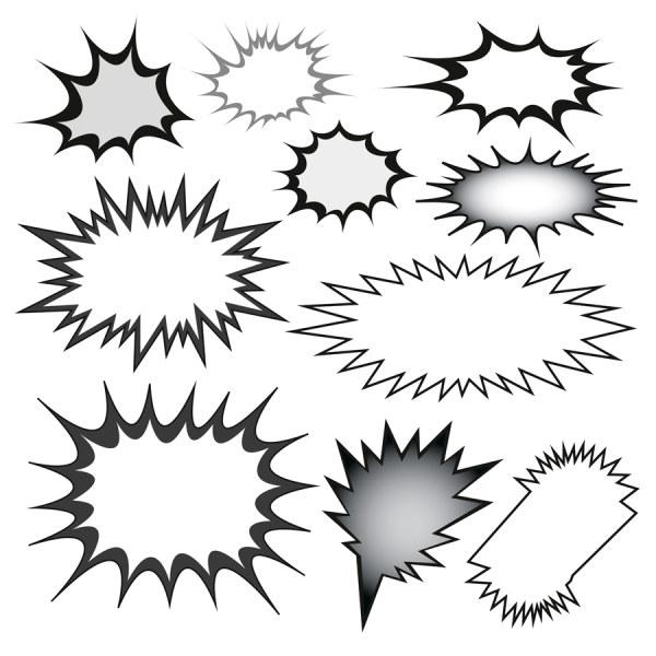 Explosions clipart shape Frames 01 vector Vector set