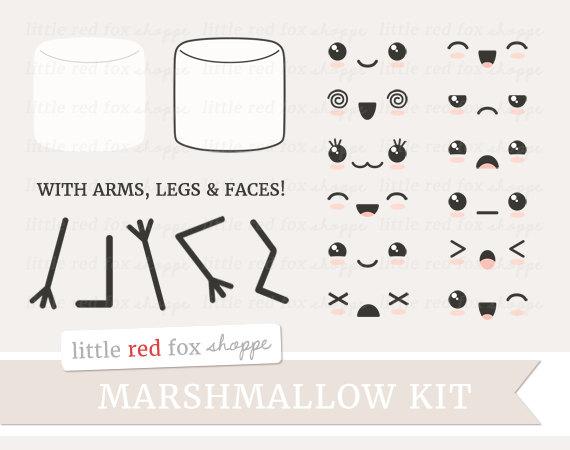 Marshmellow clipart two Clipart Kawaii  Eyes Digital