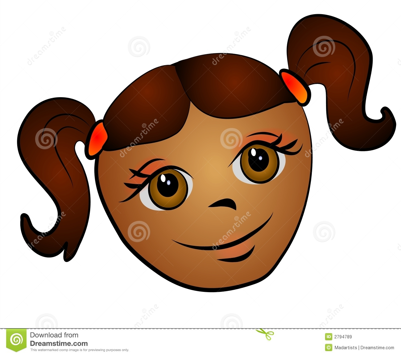 Brown Hair clipart big smile Clipart with Girl big clipart