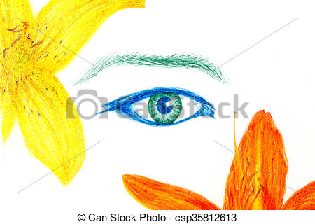 Pencil clipart eye Eye drawing  contact color