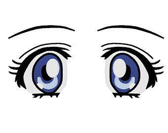 Blue Eyes clipart anime eye Etsy FILES: Embroidery PES anime