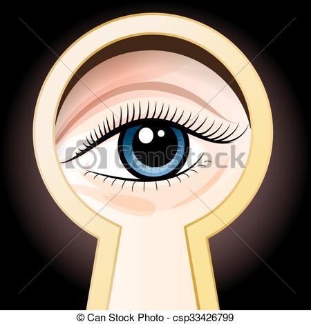 Eyelash clipart cartoon female Eye peeping Look blue through