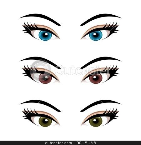 Eyelash clipart cartoon female Isolated (3) set eyes female