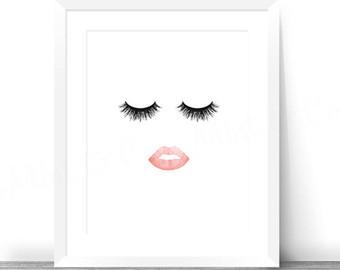 Eyelash clipart cute Art Lips Eyelash Decor Etsy