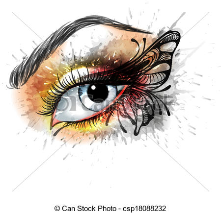 Eyelash clipart eye makeup Csp18088232 butterfly Vectors of with
