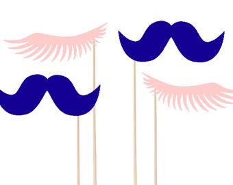 Eyelash clipart pink Or Etsy Mustache Cupcake Blue
